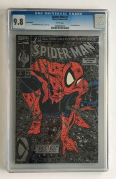 Marvel Comics - Spider-Man #1 Silver Edition - CGC Graded 9.8 - Extremely High Grade!- Story & Art Todd McFarlane - 1x sc - (1990)