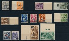 Saarland - 1947 - postage stamps, occupations and views on thick yellow paper, so-called original printing, tested Hoffmann BPP, Michel 226 I-238 I