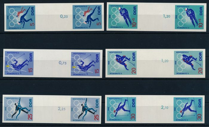 GDR of East Germany - 1968 - Olympic winter games, 2 sets unperforated end phase print Michel 1335 PH – 1340 PH