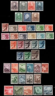 Austria 1930/1935 - Lot of three complete series for terrestrial mail and air mail - Yvert 399/404, A12/31, A32/46