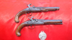 Pair of French duelling pistols