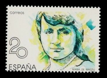 Spain 1989 - María de Maeztu. Error by absence of red colour - Filabo 2989b