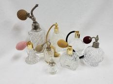 Collection of 8 glass perfume atomizers