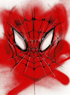 Original Acrylic Painting By Street Artist ANTISTATIK - SPIDERMAN