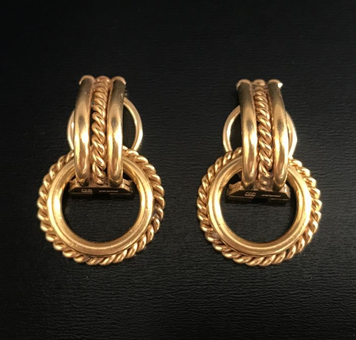 Gorgeous pair of two-in-one earrings insilver, gilded, signed MURAT **NO RESERVE PRICE**
