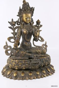 Bronze statue of the goddess Tara - Nepal - 2nd half 20th century (35 cm)