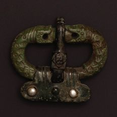Excellent Ostrogothic Bronze Zoomorphic Buckle / 35mm.