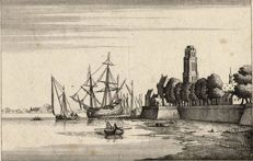 Jan Peeters, After W. Hollar  I.G. Hertel exc. - In reverse view of Dordrecht
