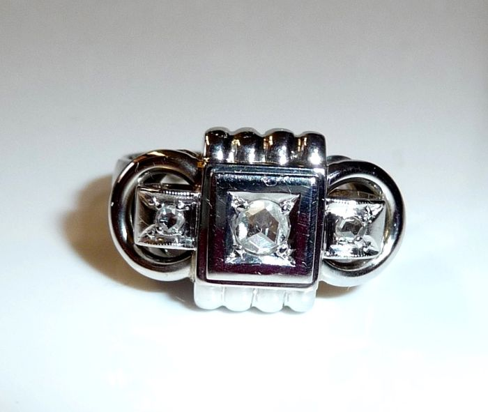 Deco Ring in 18 Kt / 750 white gold with 0.20 ct diamond roses 57-58 / 18.1-18.4 mm