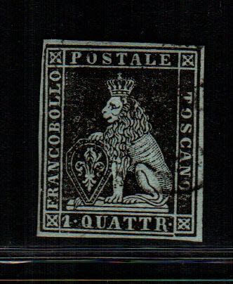 Tuscany 1851 - 1 quattrino, black, cancelled - Sass. No. 1