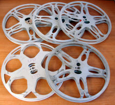 5 empty film reels for 16 mm film, diameter 27.5 cm