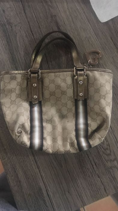 7c52f1192a8f Gucci - GG Canvas Jolicoeur Stripe Small Tote Bag - Catawiki