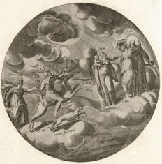 Anonymous  - Circular engraving with the virtues Charity, Faith