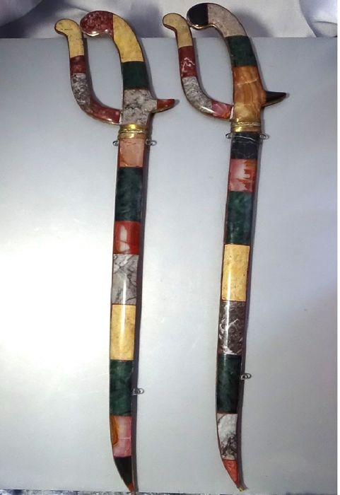 African swords made with mineral agate of different colours (2)