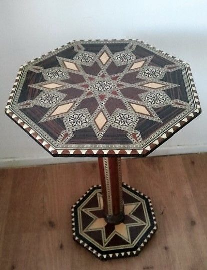 Side table with octagonal table top with marquetry