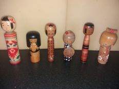 Six Kokeshi Ningyo - with three kimono dolls