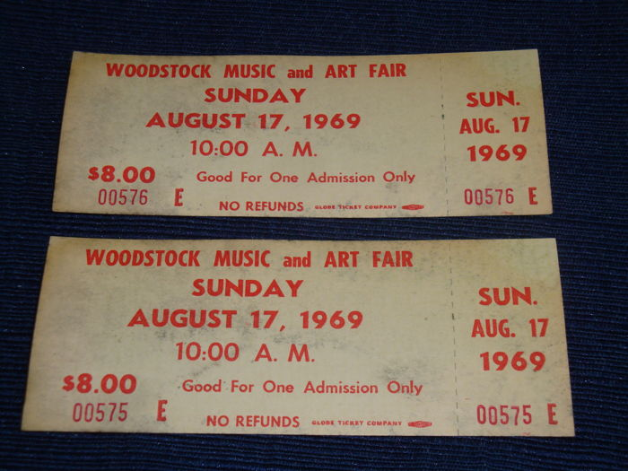 2 Woodstock 1969 Authentic Sunday Tickets Jimi Hendrix Janis Joplin Santana Ny Usa