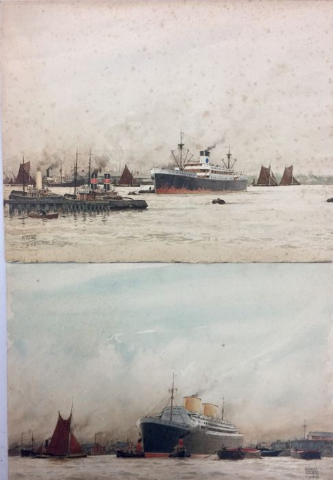 Herbert Ahier (20th Century) - Shipping in the Thames.