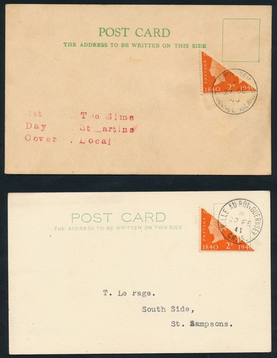German occupation 2nd WW - 1940 - Guernsey - stamps of England diagonally bisected on post cards, Michel I / II