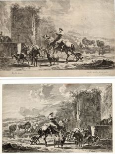 "Nicoales Berchem after, D. Danckerts 1643-1666 - Two engravings in reverse ""two landscapes """