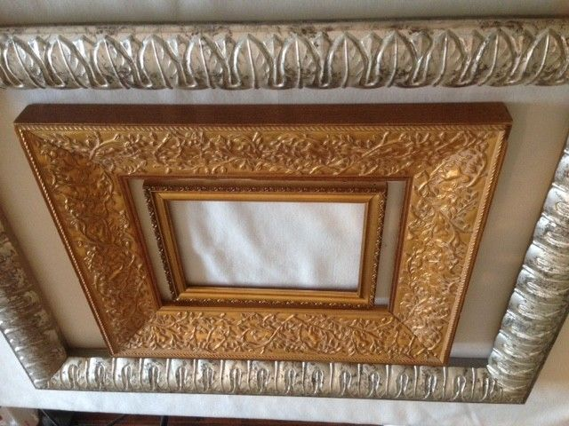 Three Empire style silver and golden frames in carved wood, Louis ...