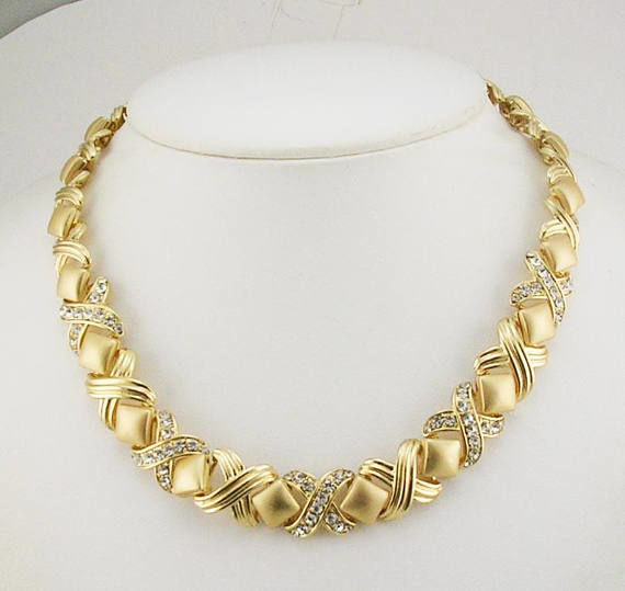 Camrose Kross Jackie Bouvier Kennedy Gold Swarovski Necklace