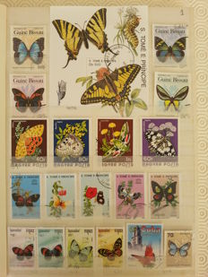 Theme, Butterflies and Insects of the World – 1000 Stamps and 25 Blocks.