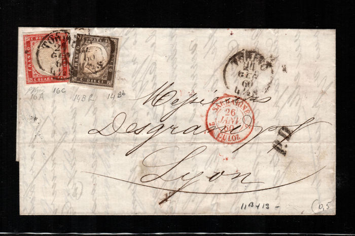 Kingdom of Sardinia, 1855/63 – Letter shipped from Turin to Lyon – Sass. no. 16C – 14Bb.