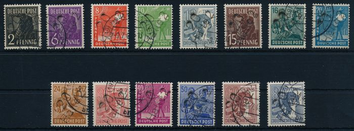 Soviet Zone – 1948 - district hand-cancellation overprint, districts 3 and 27, exemplar Michel 166-180