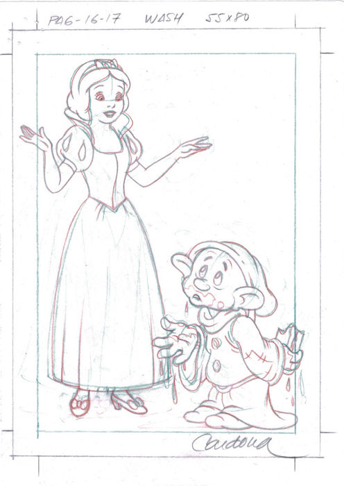 Cardona, Josep Maria - Original production drawing - SNOW WHITE & DOPEY - Disney Classics