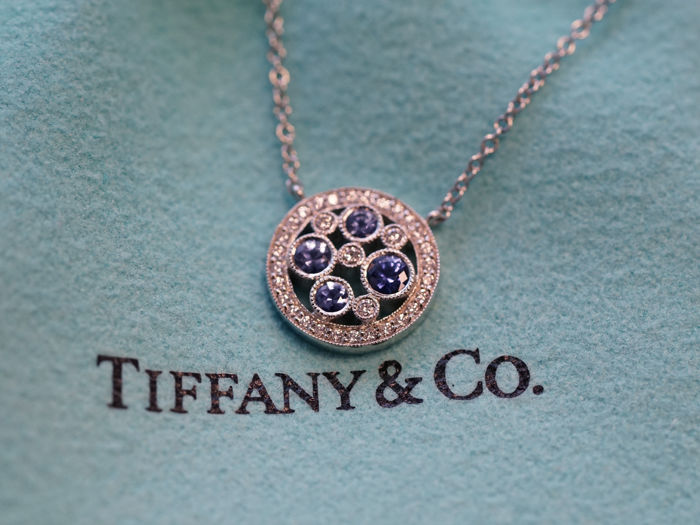 ffe35f877 Tiffany & Co. - Tiffany Cobblestone Pendant in Platinum with Montana Sapphires  Diamonds - 45