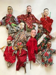 Group of 9 Puppets - China - mid 20th Century