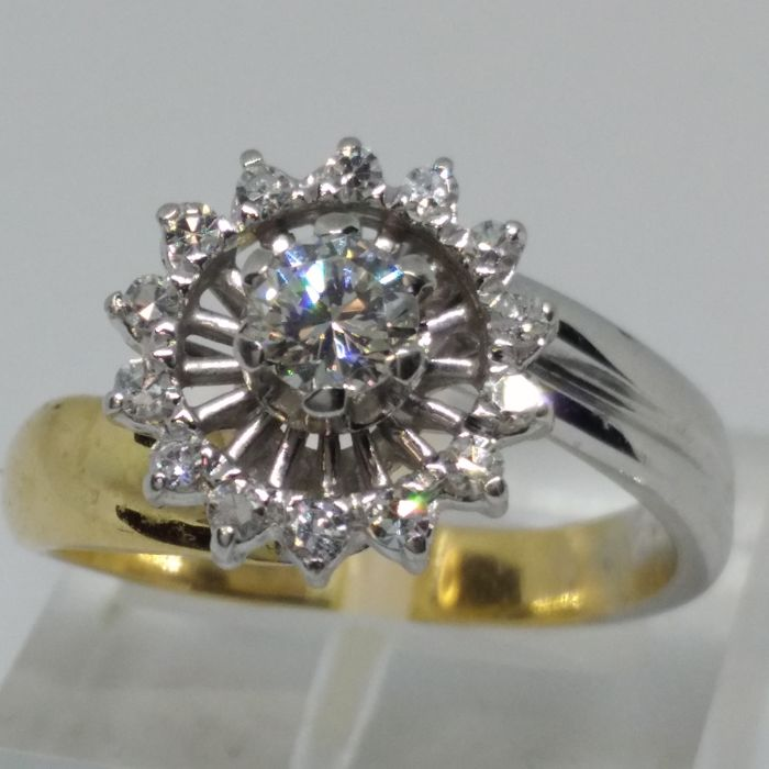 Anello oro 18 kt con diamante, misura 14 (IT)