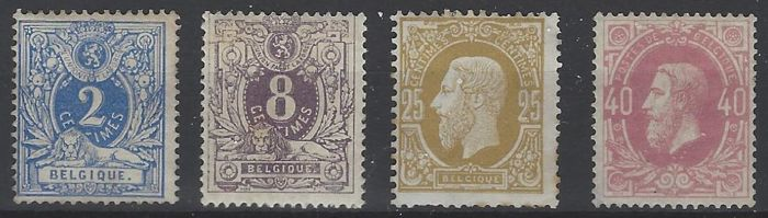 Belgium - 'Laying lion with coat of arms' 2c and 8c and King Leopold II 25c and 40c with perforation 15 - OBP 27, 29, 32 and 34