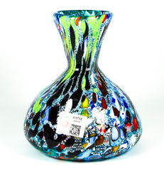 Imperio Rossi (Murano) - Aquamarine Murrina and Silver Decanter Vase