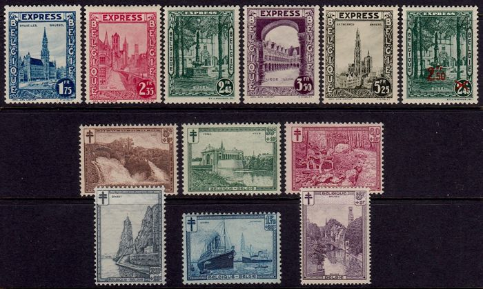 Belgium 1929/1930 - Express stamps and landscapes - OBP 292C / 298