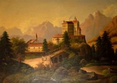 European School (19th) century - Castle in mountain landscape