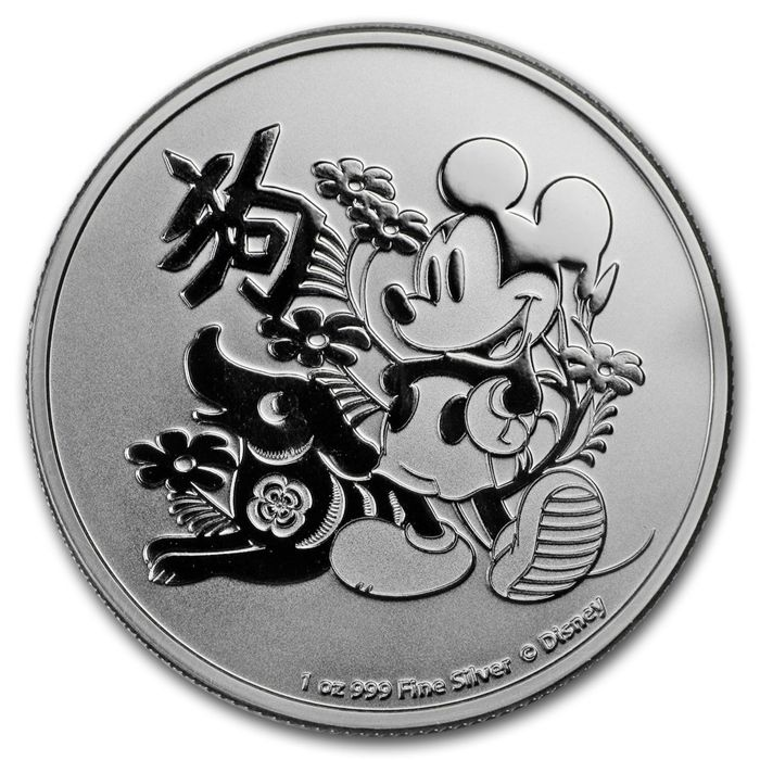 Niue - 2 Dollars 2018 'Year of the Dog - Disney' - 1 oz silver