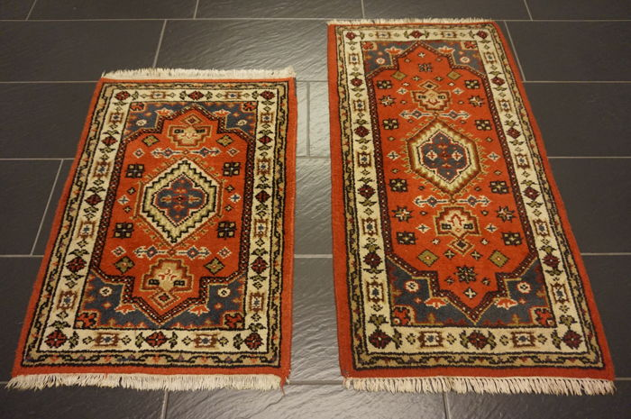 Pair of Bijar, India, 65 x 120 cm and 65 x 90 cm
