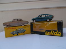 Dinky Toys No. 559, Ford Taunus 17M with box, Solido No. 193 Citroen GS with box, empty box for Solido No. 127 NSU Prinz IV without car