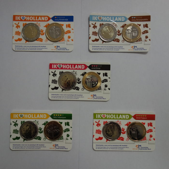 The Netherlands - Coincard 2014/2018 2 euro + penning - Other