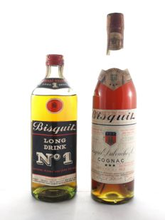 Bisquit Three Stars Dubouché & C. Bottled in 1960s 73cl 40° 1 Btl. - Bisquit Long Drink N°1 73cl 40° 1 Btl. - Tot 2 Btl.