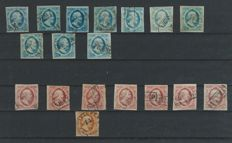 The Netherlands 1852 - Selection 1st emission - NVPH 1 (10x), 2 (7x), 3 (1x)