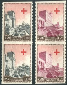 San Marino 1951 - Red Cross with variation (two pairs with missing horizontal perforation) - Sass.  N°  369b + 371b