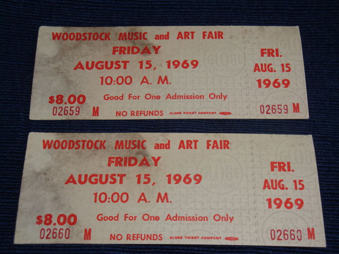 2 Woodstock 1969 Authentic Friday Tickets Jimi Hendrix Janis Joplin Santana Ny Usa