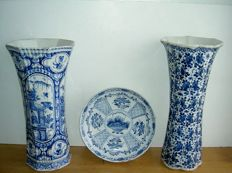 Two vases and a plate, Delft, The Netherlands, 18th century. Including a special vase 'De Twee Scheepjes' from the time of Jan van Gael, 1707 - 1725 - Delft - The Netherlands