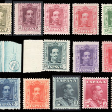 Spain 1922 - Alfonso XIII, Vaquer type. Complete series, 18 values - Including type A and B -   Edifil 310/23