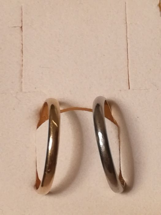 Gold ring, 2 bands in white and yellow gold, 1930/1950 18 kt