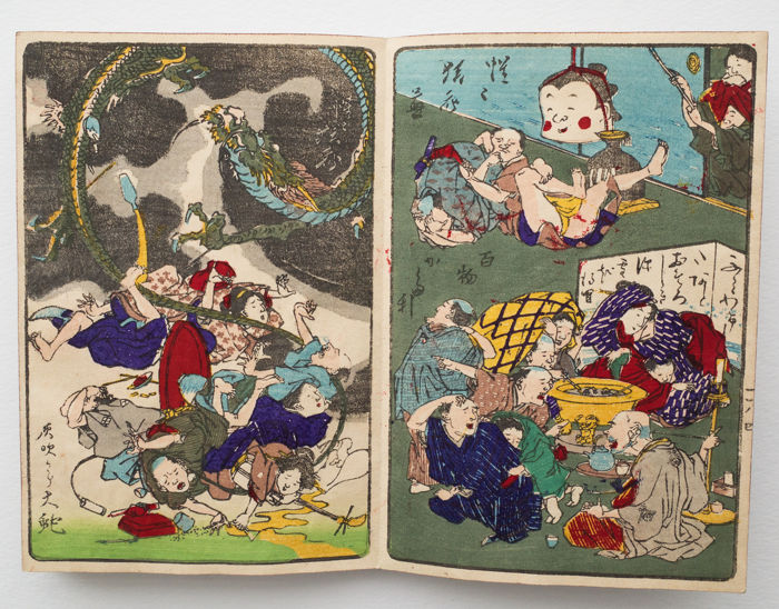 Special humoristic and colourful harmonica book by Kawanabe Kyōsai (1831–1889) Kyōsai Hyakuzu (One Hundred Pictures by Kyosai) - Japan - c. 1890 (Meiji period)
