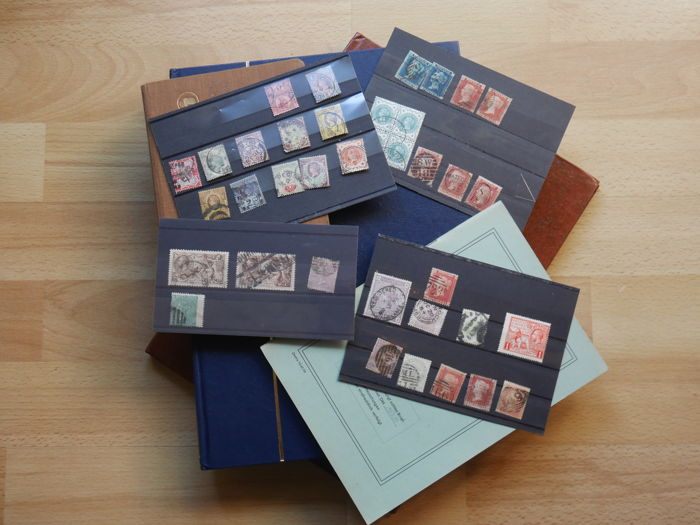 World - Great Britain, starting from 1841 - small selection - Starting from the Classical era - Queen Victoria, Michel no. 2 - on stock cards, 4 pieces Postage stamp albums